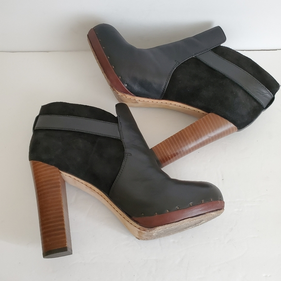 Sam Edelman Black Leather Suede Heel Booties